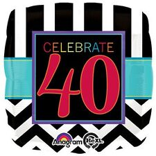 CELEBRATE 40 FOIL BALLOON BIRTHDAY PARTY DECORATION CHEVRON 40TH FORTY