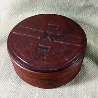 Antique Leather Box Primitive Folk Art Hand Crafted Tooled Decoration
