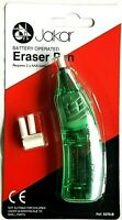 Green Electric Eraser Pen Battery Operated Automatic Art Craft Rubber + Refills