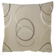 "Beige Cushion Covers Set of 4 Big Circle Size 18x18"" Brown Cream Square Decor"