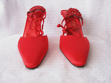 ANDREA PFISTER COUTURE BRIGHT RUBY RED SATIN HEELS
