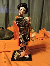 """13"""" Superb Chinese Or Japanese Woman Figure Doll On Stand-Traditional Wardrobe"""