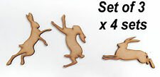 Pack of 12 ~ 4x3 ~ 75mm High~Long MDF March Hares 3mm thick MDFembelishment #04