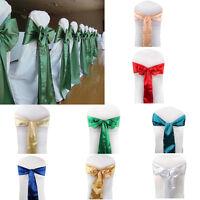10 Satin Fabric Chair Sash Chair Bows Wedding Party Banquet Decor 8 Colors