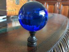 HUGE. Lamp Shade Finial Topper Cobalt Blue Crystal Bronze Base Very Art Deco