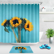 Bathroom Waterproof Fabric Shower Curtain Set Blue Background Bouquet Sunflowers