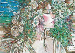 original drawing A3 133RM art samovar modern female portrait Mixed Media floral