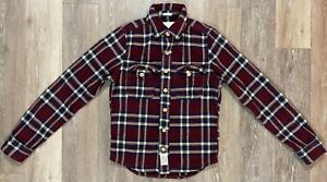 Abercrombie & Fitch Flannel Maroon Navy Plaid Muscle L/S Shirt SMALL NWT $120