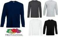 New Mens Fruit of the Loom Long Sleeve T Shirt  Plain Top