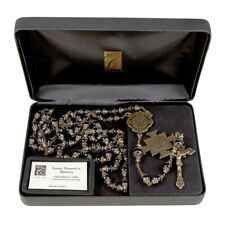 ST. BENEDICT  VINTAGE ROSARY BLACK BEADS, Creed Italy