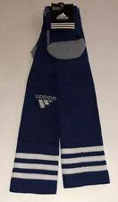 Adidas OTC Soccer Socks Men 9-13 Women 10-12 Blue w/ White 3 Stripe & Logo Gray