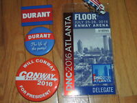 House of Cards Screen Used Prop DNC 2016  Floor Pass Durant Conway Buttons