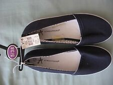 NEW WOMEN'S ATMOSPHERE NAVY CANVAS FLAT SLIP ON DECK SHOES CASUAL EU 38 SIZE 5