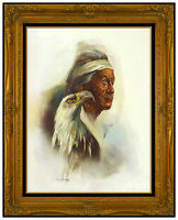 Cyrus Afsary Original Oil Painting On Board Native American Portrait Signed Art