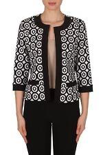 Joseph Ribkoff Black/White Geometric Print   Women's Jacket 182530  US 10 UK 12