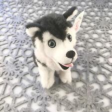 "Stuffed Animal House 7"" Siberian Husky Black Sitting Smiling Dog Realistic HP-01"