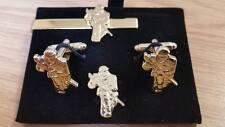 NI Soldier + SLR cufflink, lapel pin tie slide Gilt, Northern Ireland, Op Banner