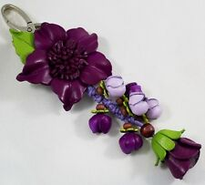 Handcrafted Purple Genuine Leather Keyring Flower Keychain Purse Charm Women New