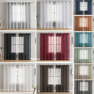 Pair of  Voile Net Panels EYELET / RING TOP  Curtains + Free Tie Backs