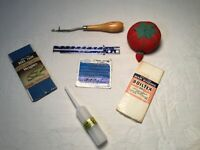 Vintage Sewing Mixed Lot Pin Cushion Bias Tape Sew & Knit Gauge Rug Hook Latch