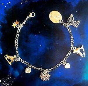 Ice Skating bracelet silver Charm chain Birthday Lockdown gift girls jewellery