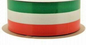 1 METRE -  50mm wide WATERPROOF POLY RIBBON ORANGE/WHITE/GREEN IRISH FLAG