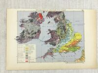 1881 Antique Military Map of The British Isles Great Britain Ireland Geological