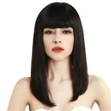 Girls Straight Silky Real Human Hair Cosplay Wig for Women Natural Neat Bang