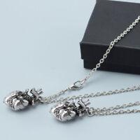2pcs Retro 3D Anatomical Heart Pendant Necklace Gothic Punk Alloy Jewelry Gift
