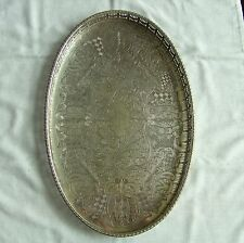 "Inseguita Viners of SHEFFIELD SILVER PLATED OVAL Galleria VASSOIO 15 ""X 10"" x 1,25 """