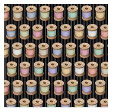 Cute as a Button Fabric - Thread Spool Black - QT Quilting Treasures YARD