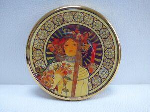 Vintage Art Nouveau Beautiful Lady Enameled Handbag Compact Double Mirror
