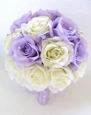 17 piece Wedding Bouquet Bridal Silk flowers LAVENDER LILAC CREAM IVORY BROOCH