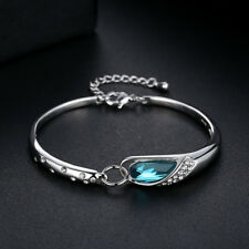 Cute child Womens white gold filled sapphire adjustable bangle bracelet jewelry