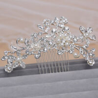 Silver Bridal Bridesmaid Wedding Hair Comb Clip in Flower Pearls Rhinestones