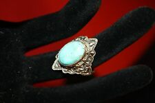 Bold and Beautiful  Artisan Turquoise  silver ring size 9