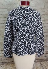 Charter Club Black White Gray Leopard Button Up Top Shirt Women's Size Small