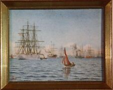 Schiffe Hafen Kopenhagen Monogr. VH92 Miniaturmalerei Aquarell 19. Jahrundert