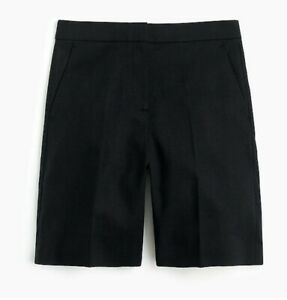 jcrew Bermuda short in stretch linen, black, new with tags, size 4us