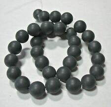 """Matte Black Onyx 10mm Round Smooth Beads 15"""" Strand Spacer Accent Frosted Onyx"""