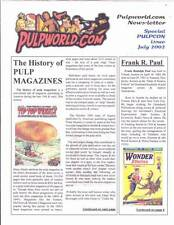 Pulpworld.Com Newsletter 2002 fanzine Frank R. Paul, Weird Tales, Hugo Gernsback