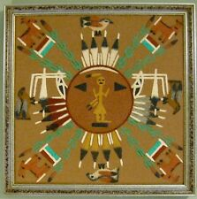 "VTG Navajo Dinè-Children of God ""CHIRICAHUA SUN"" Sand Painting 13.5"" ~ S. Toledo"