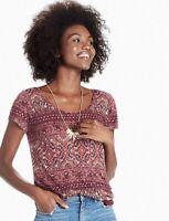 Women's Lucky Brand Sz M Ornate Border Tee T-Shirt Short Sleeve Scoop Neck Pink