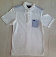Mens, FRED PERRY, white, collared, short sleeved, 100% cotton, Slim Fit size S