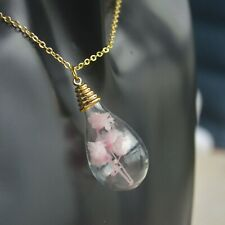 Pink Blossom Babysbreath Real Flower Waterdrop Pendant 18k Gold Plated Necklace