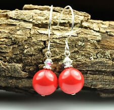 Made with Red Coral Swarovski Crystal Pearl Earrings Sterling Silver Filled