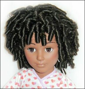 New DOLL WIG Sz 12 - 13 Afro CORKSCREW CURLS Brown-Black Full Cap OLD STOCK