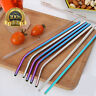1pc Stainless Steel Metal Drinking Straws Straight/Bent Reusable Washable Brush