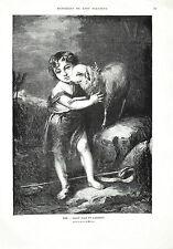 Stampa antica SAN GIOVANNI BATTISTA da piccolo e AGNELLO Murillo 1873 Old print