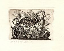 Insects Creatures, Limited Edition Ex libris Etching by Elena Novikova